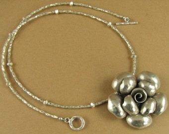 Large rose flower necklace. Fine silver.