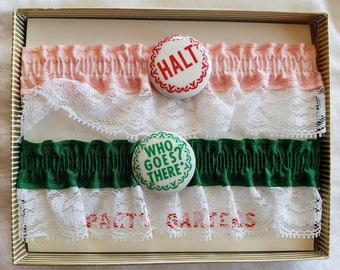 Vintage Garters, Set of Two (2) Party Garters - Novelty, Bachelorette Party Gift, Wedding Gift, Gag Gift, Halt Who Goes There?