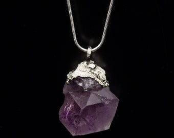 Amethyst silver necklace, electroformed silver jewelry, raw crystal , raw amethyst necklace, festival jewelry