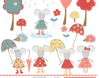 Autumn mice, trees and puddles, red, yellow and green, digital clipart