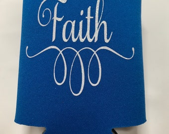 Royal Blue KOOZIE® Faith in White Glitter Lettering, perfect for everyday use, beverage holder