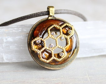 brown honeycomb necklace, honeycomb jewelry, nature necklace, cord necklace, unique gift, womens gift, honey necklace, honeybee