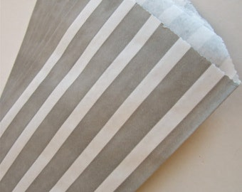 """SALE - Set of 10 Gray and White Vertical Stripe Design Middy Bitty Bags (5"""" x 7.5"""")"""