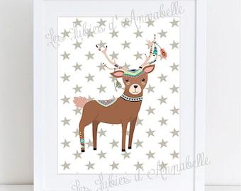Indian or Tribal deer nursery poster
