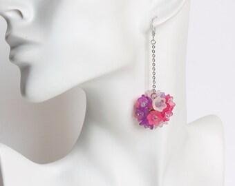 Pink Purple White Bouquet Dangling Earrings