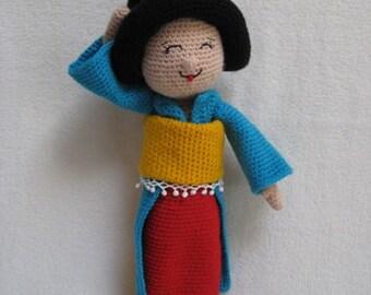 Amigurumi Geisha Doll Toy PDF CROCHET PATTERN Maiko Kokeshi Orient