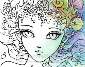 Digital Stamp - Princess of the Sea - Big Eye Mermaid w/ Starfish, Shells, and Pearls - Line Art for Cards & Crafts by Mitzi Sato-Wiuff