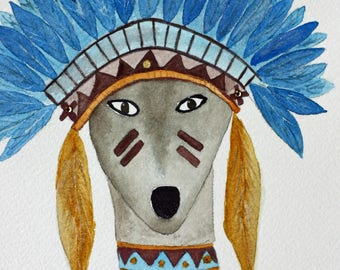 Warrior spirit dog, original watercolor, headdress of feathers, brown and blue, children's art, nursery, blue feathers, square art