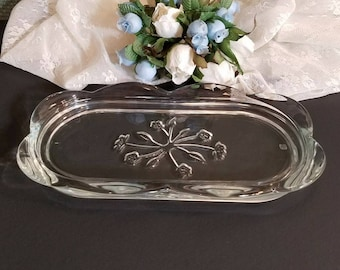 Clear Glass Butter Dish, Oval Butter Dish, Cut Glass Dish, Small Glass Butter Tray, Dining and Serving, Entertaining, Gifts Under 25