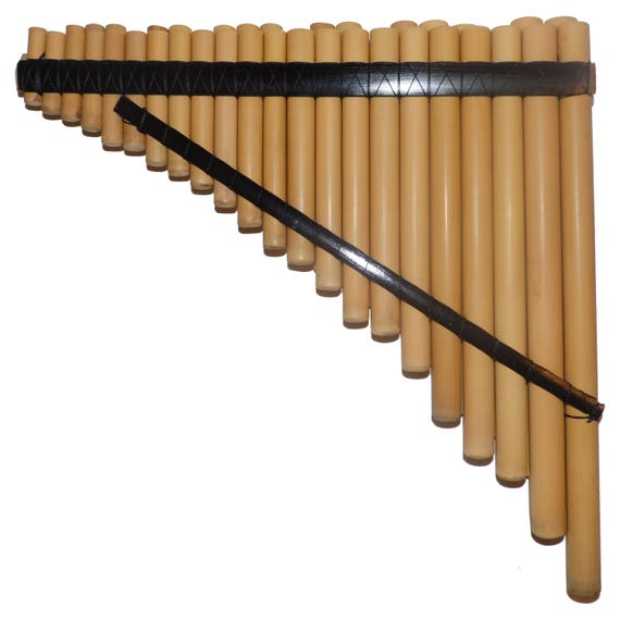 Pan Flute Chromatic 44 Pipes Natural Bamboo From Peru Case