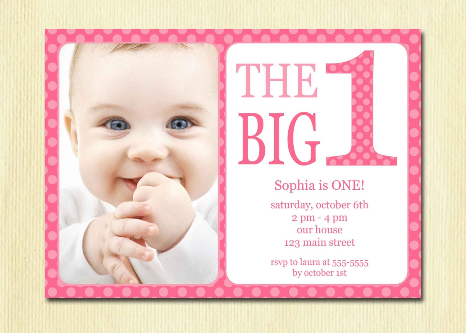 First birthday baby girl invitation diy photo printable zoom stopboris Gallery