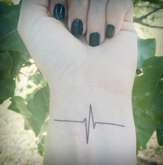 heartbeat tattoo temporary tattoo ekg nurse life