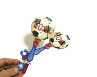 Soccer Ball Christmas Ornament | Tole Painted Soccer Ball Key Tree Ornament