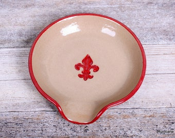 Natural Ceramic Spoon Rest. Red Fleur de Lis.  Handmade Ceramic Pottery. Kitchen Dish for Spoons. Wheel thrown Pottery.