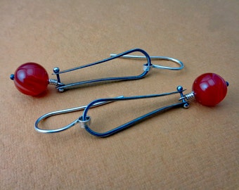 Valerie Red: Sterling Silver Oxidized Riveted Dangling Red Sardonyx Long Loop Earrings