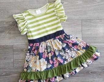 Girls Easter dress, Girls flutter sleeve dress, girls striped dress, toddler spring dress, summer dress, soft knit dress