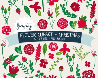 50 x Christmas Flower Clipart in Red - Digital files PNG 300dpi with Instant Download. CA0053
