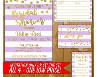 Lavender and Gold Bridal Shower Invitation, Gold Bridal Shower, Recipe Card Insert, Thank You Note, Bridal Invitation Suite Kit