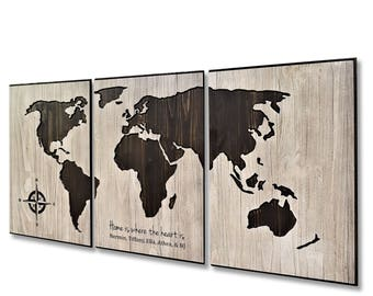 World map art carved wood wall art home wall decor wooden home is where the heart is push pin map world map art family gumiabroncs Choice Image