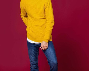 Mustard Jacquard Cotton Sweater.