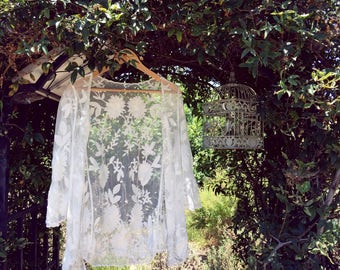 My Little Daisy Embroidered Lace Coverup, Boho style cardigan, Sheer Cardi, One size fits all, Fits XS S M, Color white
