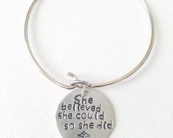 She believed she could so she did RN Charm Bracelet Hand Stamped Bracelet, RN Nurse Graduation Gift