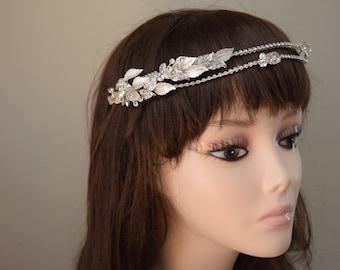 silver wedding headband, floral wedding headpiece, silver bridal headpiece, floral vintage headband, silver bridal headband