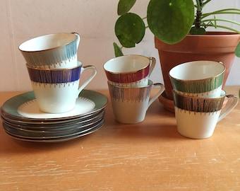 Art Deco 1950's Teacups (set of 6)