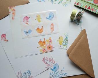 Birds letter writing set - 16 sheets - 2 kraft envelopes - 6 envelope seals