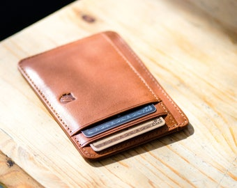 Front pocket wallet, Minimalist Wallet, ID wallet, in Tuscany Vegetable tanned leather. RFID-blocking, Designed in Sweden, Free US Shipping