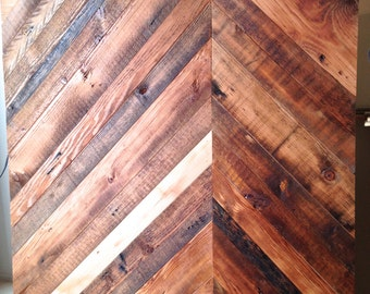 Reclaimed Rustic Wood Asymmetric Chevron Pattern Panel