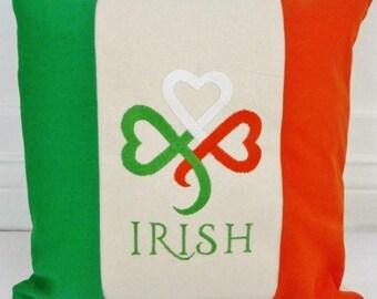 Custom embroidered Pillow, Irish Flag Pillow Cover, Ireland, St. Patrick's Day, Celtic pillow, Irish Decor