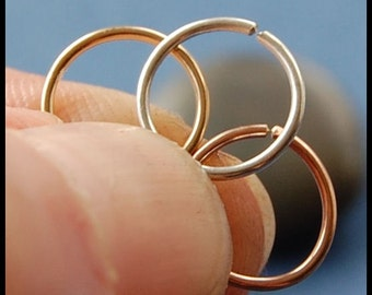 TRIO - Rose Gold Filled, Yellow Gold Filled and Sterling Catchless Nose Rings - CUSTOMIZE