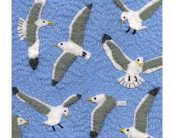 Seagull Textile Art print