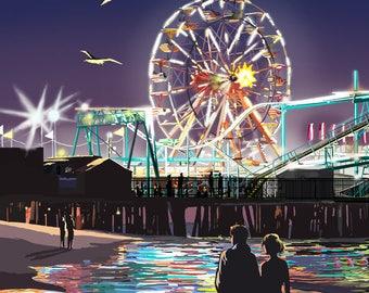 Wildwood, New Jersey - Pier & Rides at Night - Lantern Press Artwork (Art Print - Multiple Sizes Available)