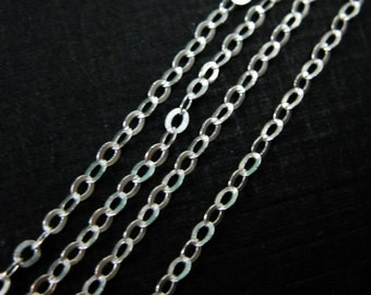 Sterling Silver Chain, Unfinished Bulk Chain, Cable Flat Oval, Cable Chain-Jewelry Making Chain  ( 6 feet  or 72 inches) - SKU: 101021