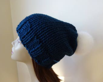 Knit Slouch Hat Faux Fur Pompom Warm Wool Blend Winter Hat in Petrol Blue with White Pompom - Ready to Ship - Gift for Her