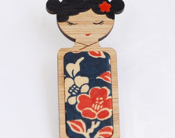 Red Blossoms on Blue // Kokeshi Brooch // Vintage Kimono Fabric Inlay