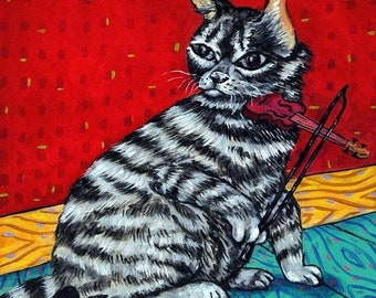 cat tile - cat art - American Shorthair Cat Playing the Violin Art Tile Coaster, cat gifts, gift