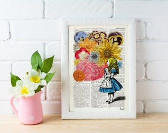 Alice in wonderland with Flowers - alice in wonderland,Alice in Wonderland Collage Print on Vintage Dictionary ALW025b