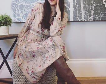 Vintage Blush Floral Shirt Dress with Belt