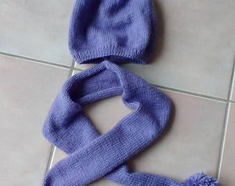 Jersey stitch Pompom baby hat and scarf set out