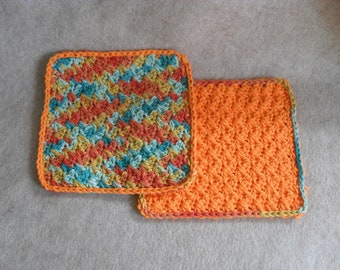 Crochet Cotton Wash Cloths: orange gold green mix  (set of 2)