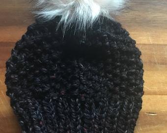 Womens Knit Hat / adult winter beanie / purple / faux fur pom pom