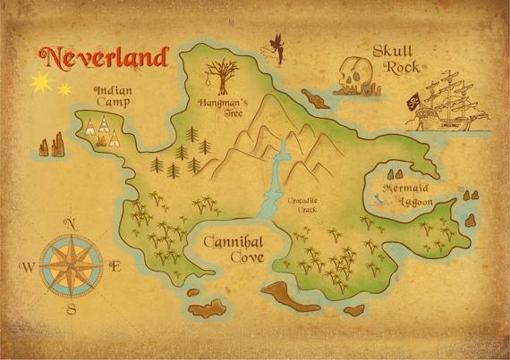 Peter pan neverland map poster - Image de peter pan ...