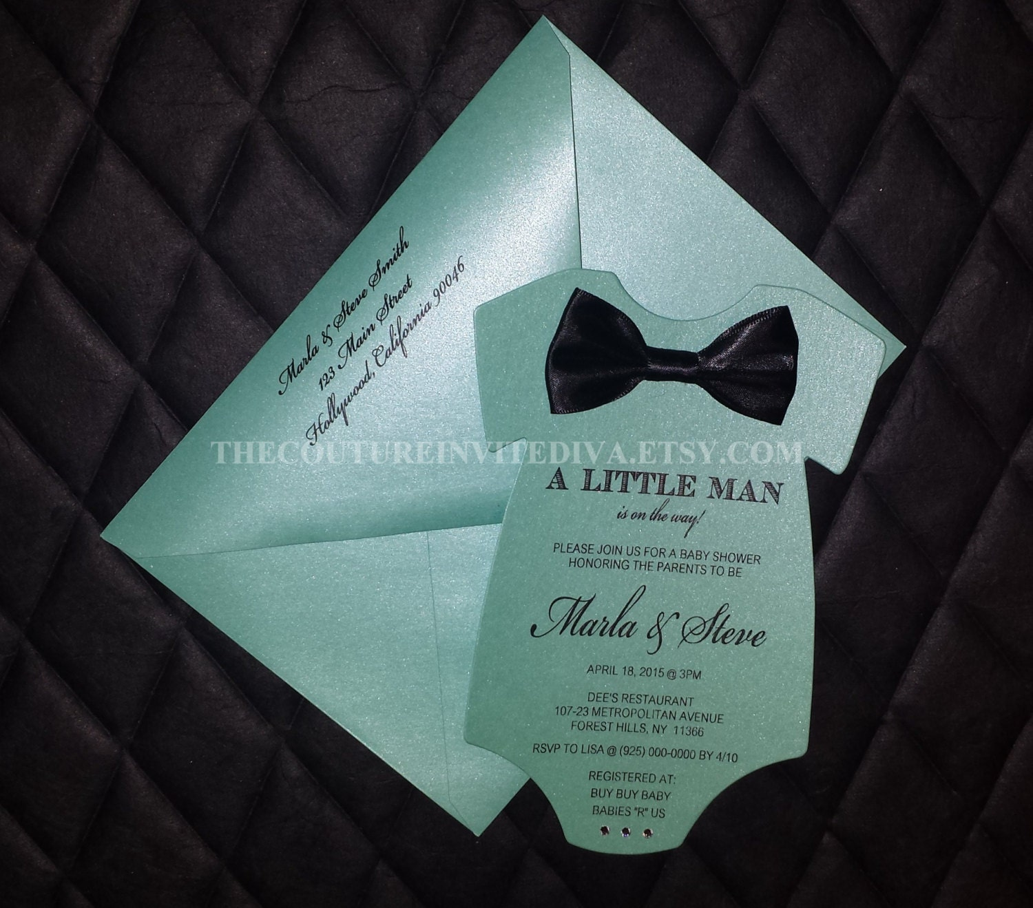 Little Man Baby Shower Invitation Bow Tie Baby Shower Invite