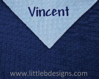 Personalized Minky Blanket - Navy Minky with Light Blue Minky - Boy Baby Blanket