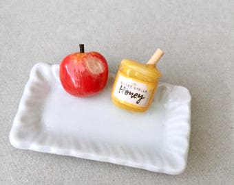 Apple & Honey Stud Earrings - polymer clay miniature food jewelry