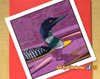 Loon Mosaic Card- Greeting Card- Small Square Card- Any Occasion- Blank Card- Bird Card- Purple sunset loon Card- purple water Card