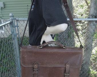 Vintage Levenger England Brown Leather Briefcase Attache Laptop Bag Tote Messenger Handbag